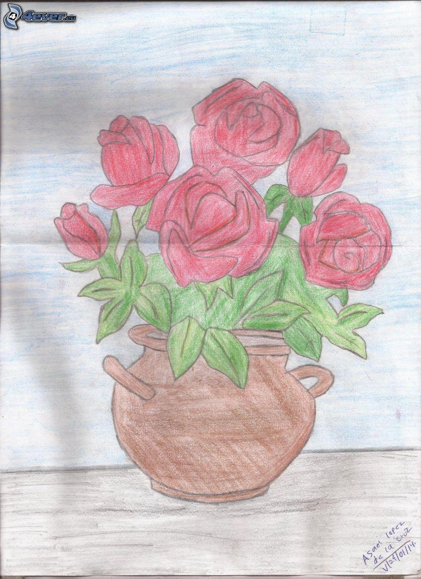 rote Rosen, Blumentopf