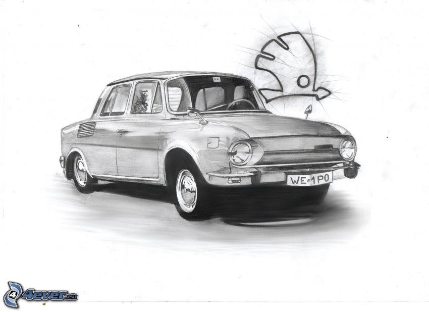 Škoda 100, gezeichnetes Auto
