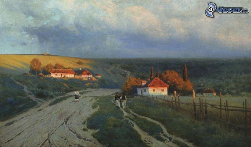 Straße, Dorf, Menschen, Malerei