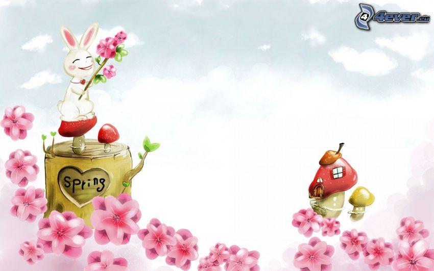 Häse, Pilze, rosa Blumen