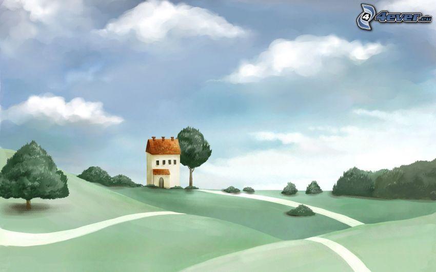 Häuschen, Wiese, Straße, Himmel