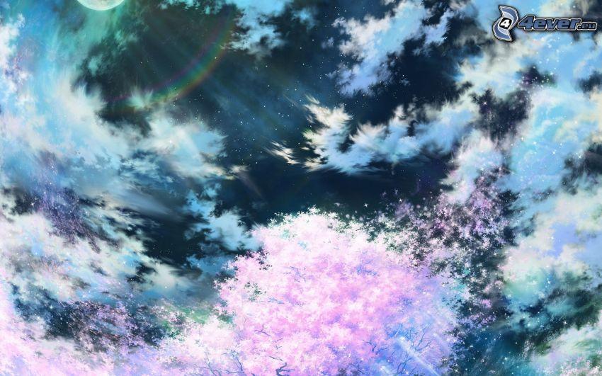Himmel, Wolken, Mond, blühender Kirschbaum
