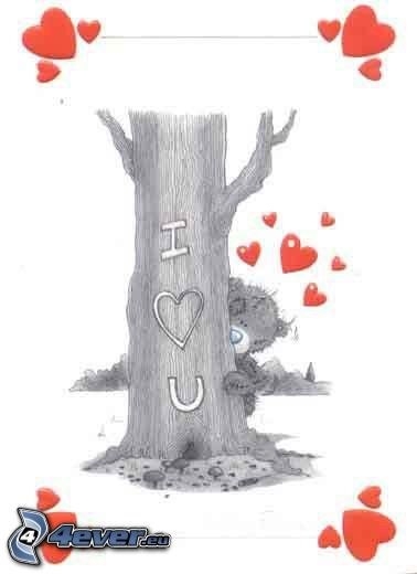 I <3 U, Teddybär, Herzen, Baum
