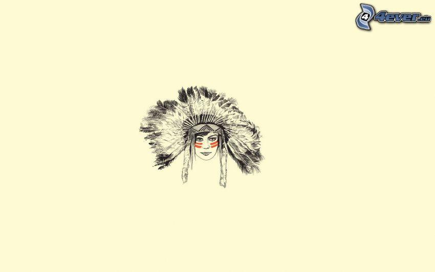 Indianerin, gezeichnete Frau