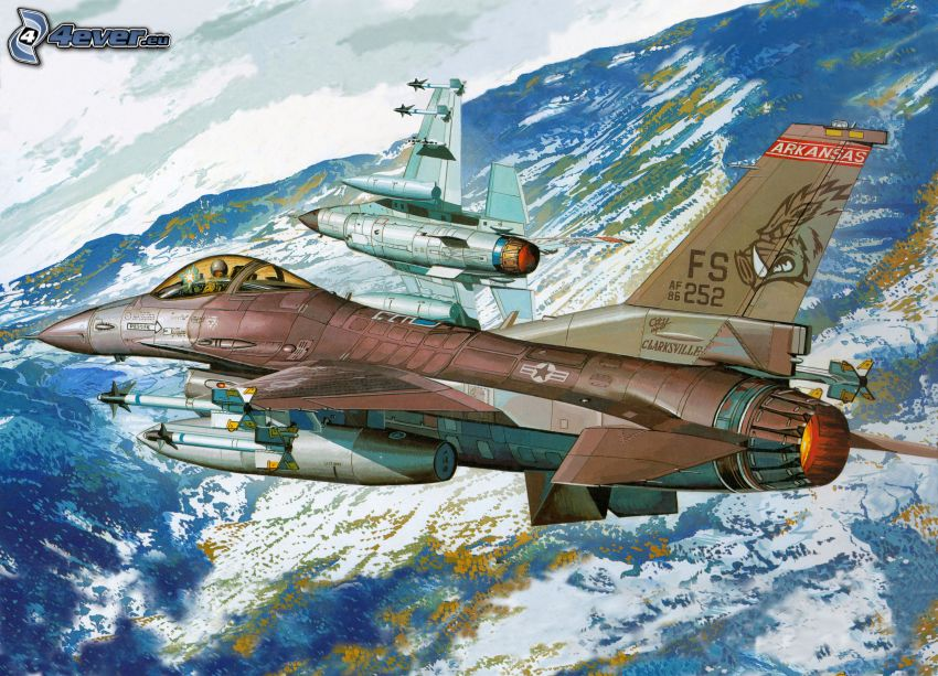 Jagdflugzeuge, schneebedeckte Berge