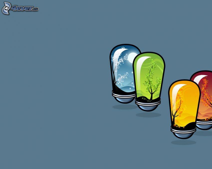 Jahreszeiten, Glühbirnen