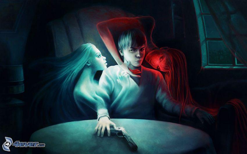 Junge, Engel und Teufel, Pistole