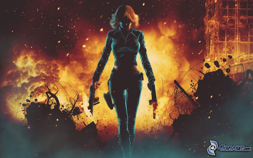 Kämpferin, Frau, Feuer