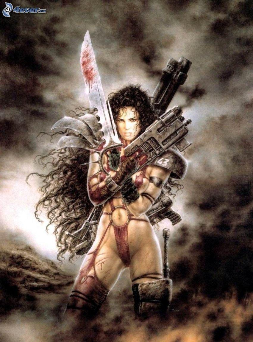Kämpferin, gezeichnete Frau, Waffen, Luis Royo