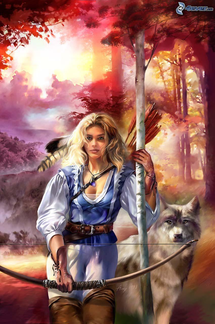 Kämpferin und Wolf, Bogen, Wald
