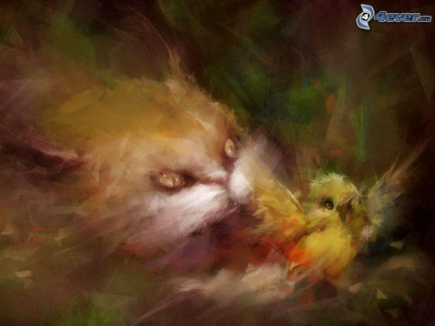 Katze, Vögel