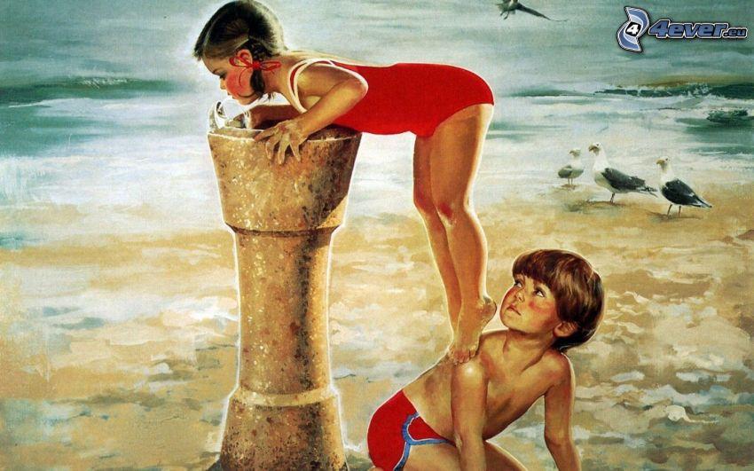 Kinder am Strand, Meer, Bild