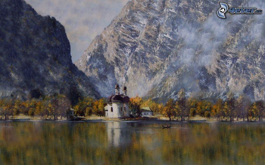 Kirche beim See, Berge, Malerei, Bild
