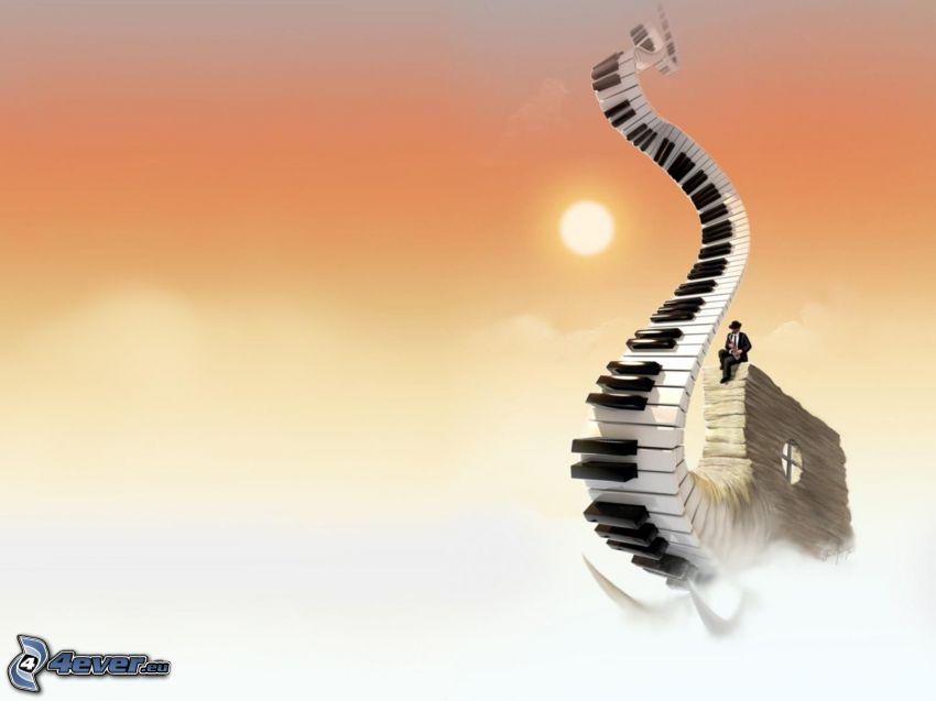 Klavier, Treppen in den Himmel, Sonne