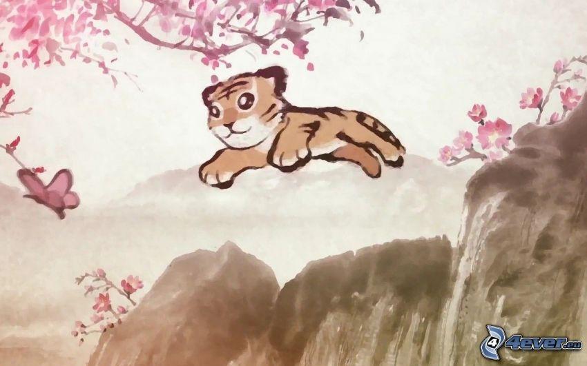 kleiner Tiger, Sprung, Felsen, blühender Zweig, Schmetterling