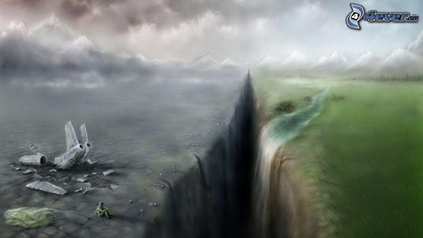 Knacken, Wiese, Wasserfall, Unfall