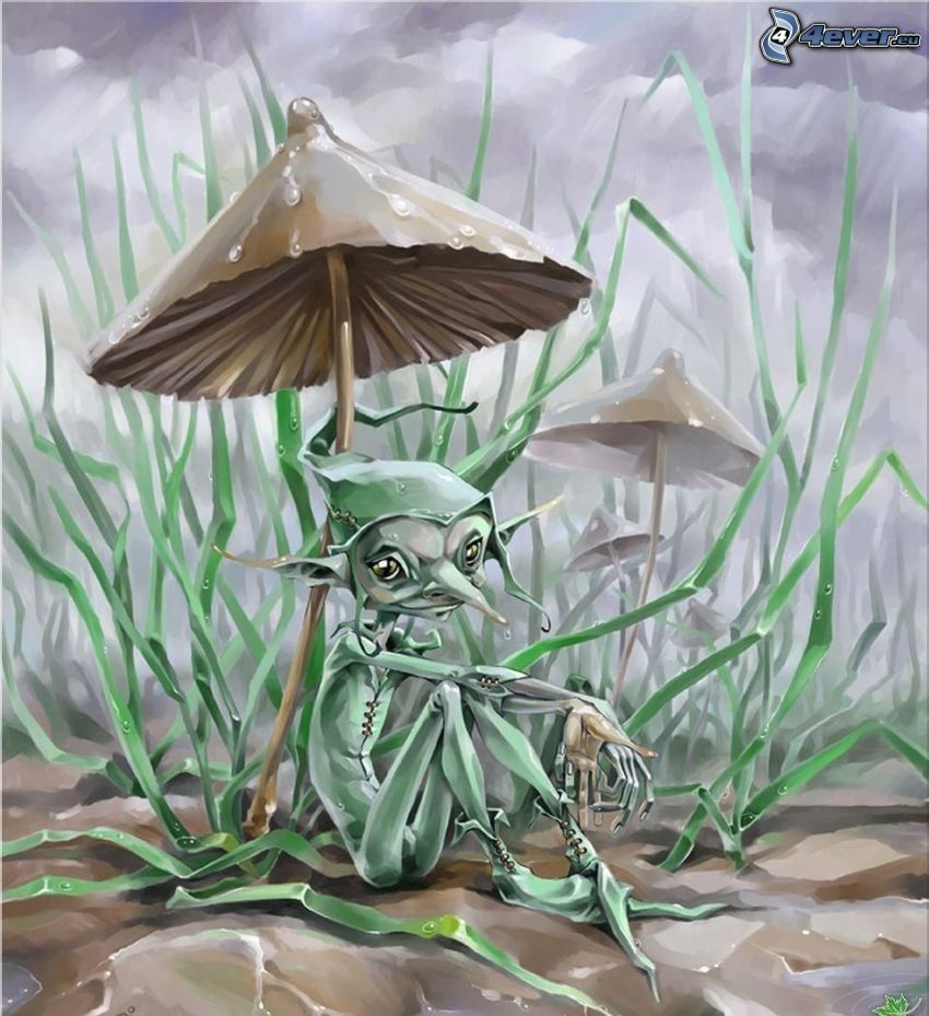 Kobold, Fantasy, Pilz, Gras