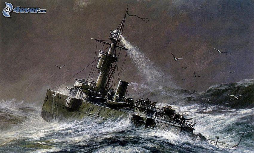 Kriegsschiff, stürmisches Meer, Möwen