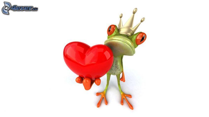 Laubfrosch, Rotes Herz, Krone