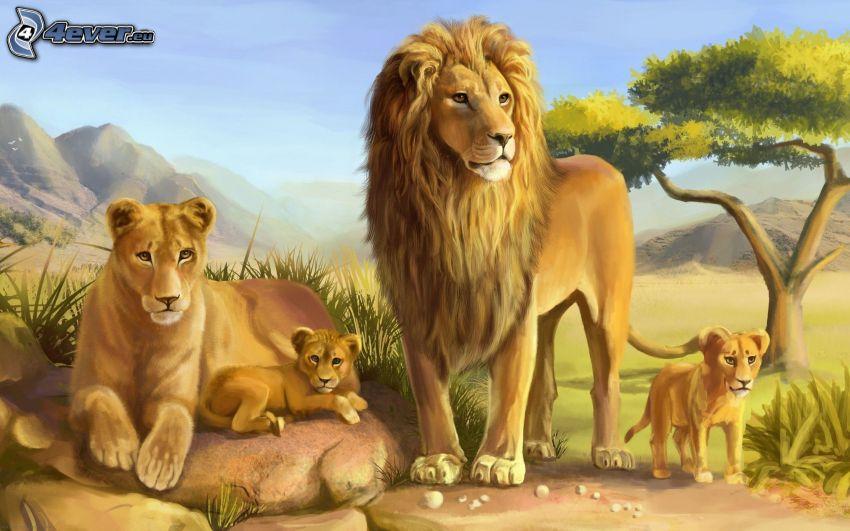 Löwenfamilie, Malerei