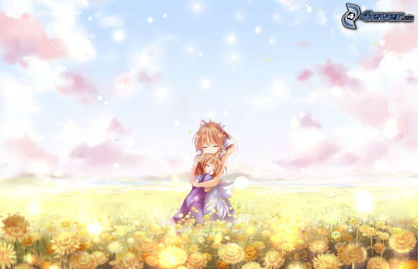 Mädchen auf der Wiese, gelbe Blumen, Wolken