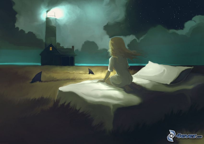 Mädchen im Dunkel, Bett, gemalter Leuchtturm, leuchtturm im Nebel