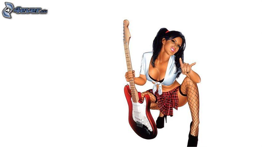 Mädchen mit Gitarre, sexy Brünette, Strumpfbänder, Minirock