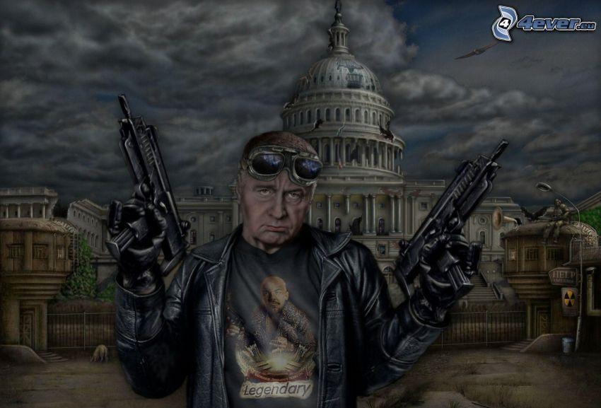 Mann mit einem Gewehr, Washington DC, postapokalyptische Stadt