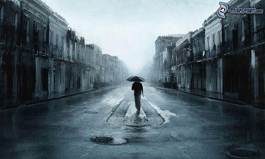 Mann mit Regenschirm, Gasse, Regen