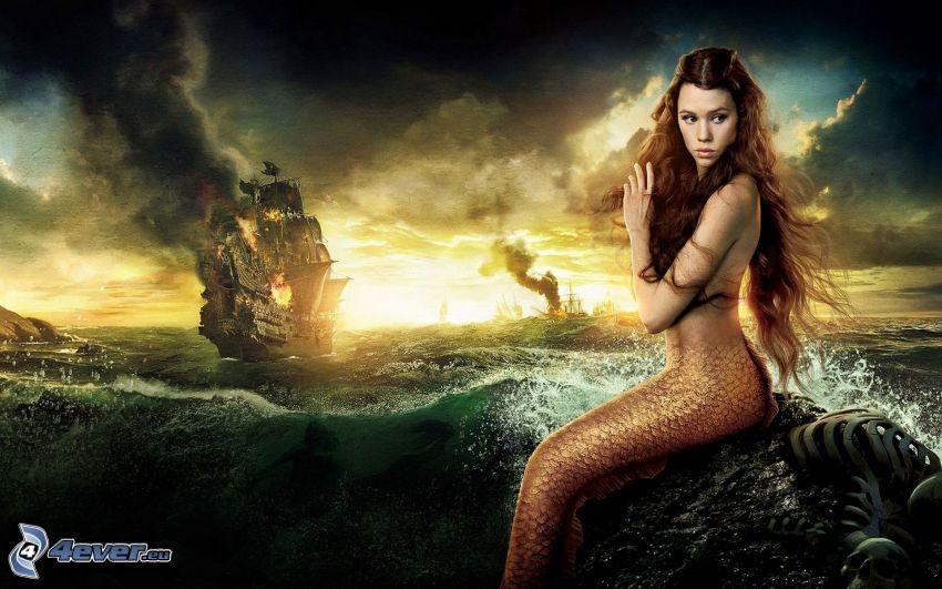 Meerjungfrau, Meer, Segelschiff