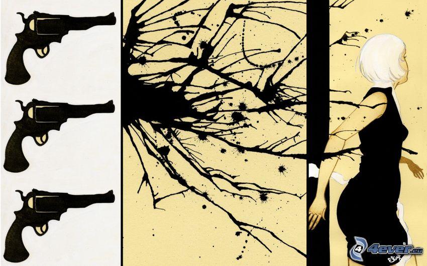 Mord, Waffen, gezeichnete Frau, Tintenfleck