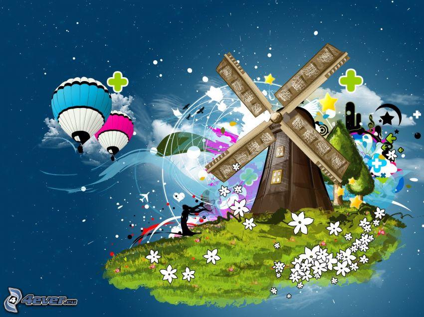 Mühle, Heißluftballons