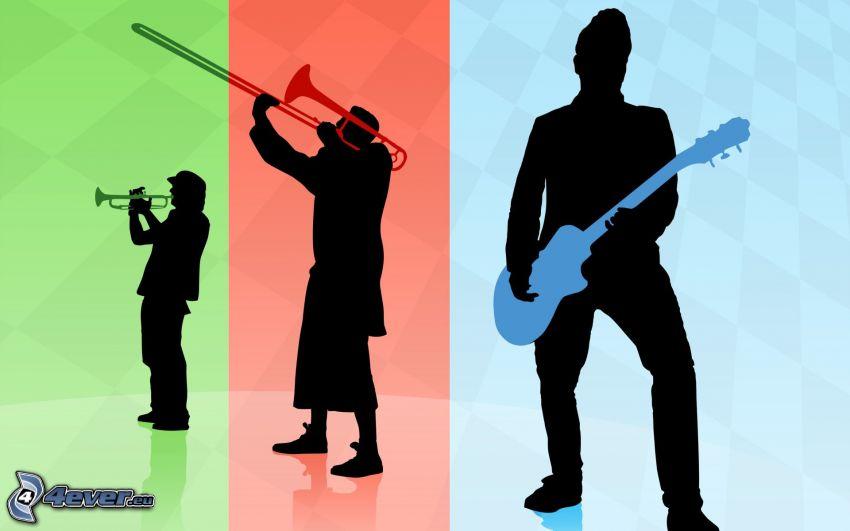 Musiker, Gitarrist, Trompete, Silhouetten
