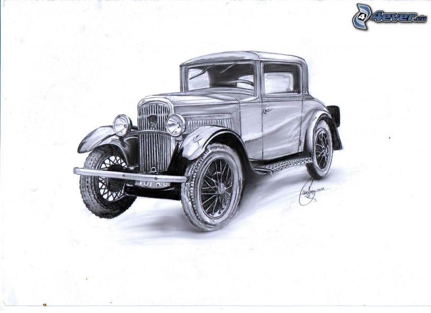 Oldtimer, gezeichnetes Auto