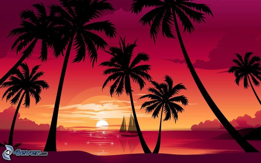 Palmen am Strand, Sonnenuntergang auf dem Meer, Segelboot Zeichnung