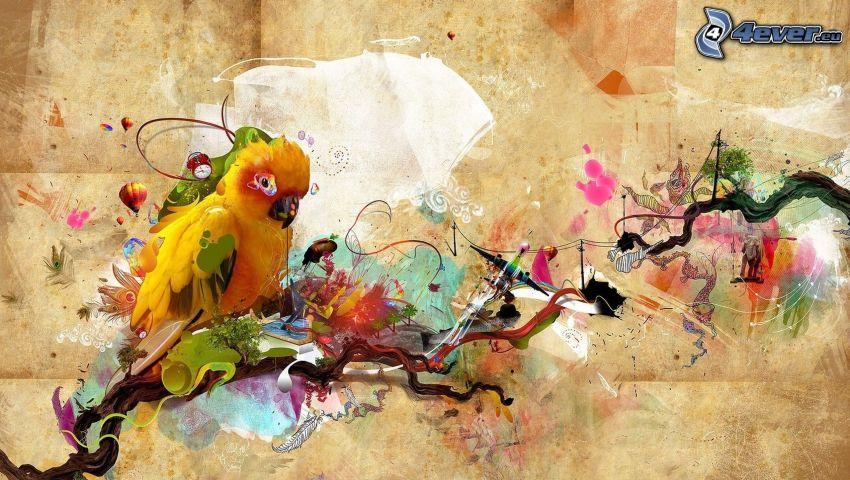Papagei, abstrakt