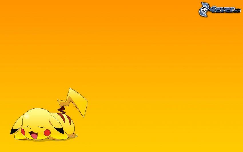 Pikachu, gelber Hintergrund