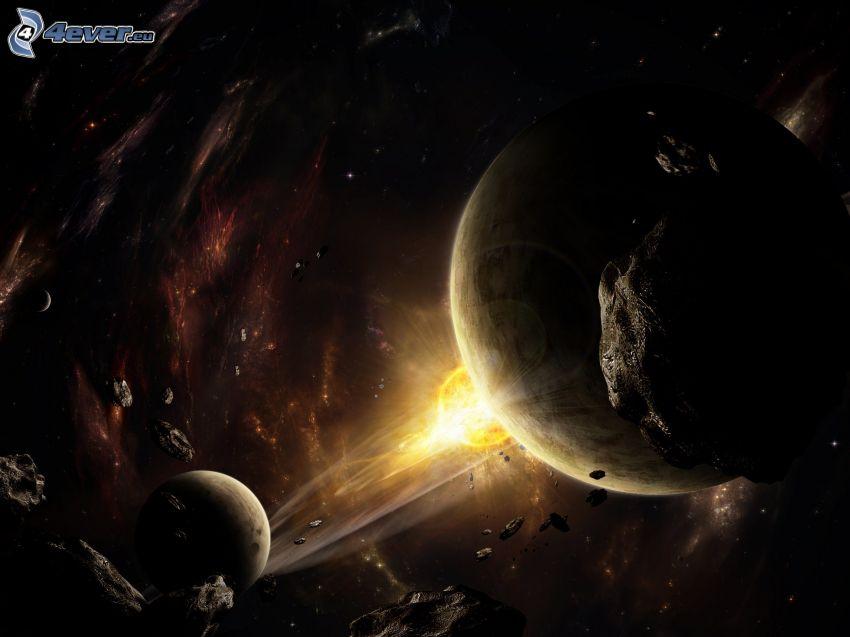 Planeten, Asteroiden, Raum glühen