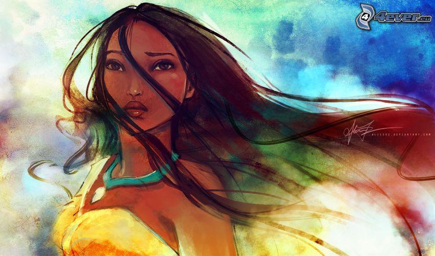 Pocahontas, gezeichnete Frau
