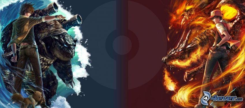 Pokémon, Feuer und Wasser