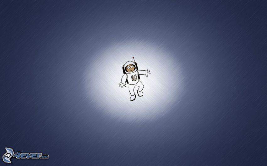 Raumfahrer, blauer Hintergrund