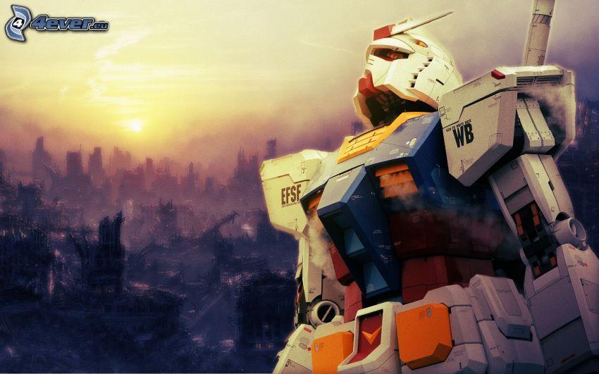 Robot, Figürchen, Sonnenuntergang, City