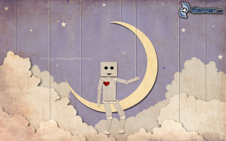Robot, Mond, Wolken