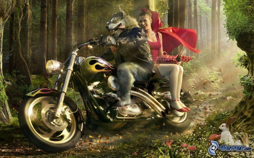 Rotkäppchen, gezeichneter Wolf, Motorrad