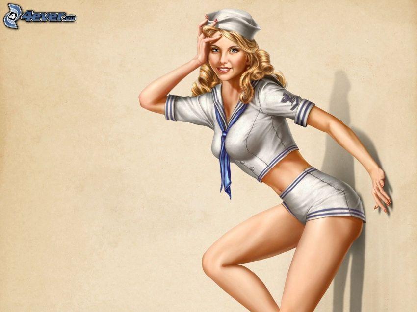 Schifferin, gezeichnete Frau, Blondine, Kostüm