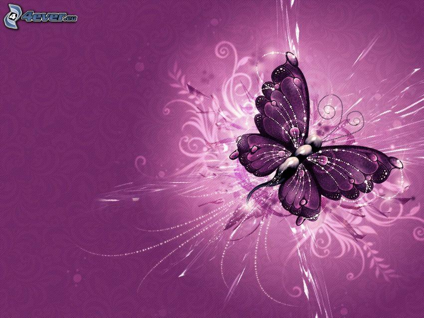 Schmetterling, weiße Linien, violett Hintergrund