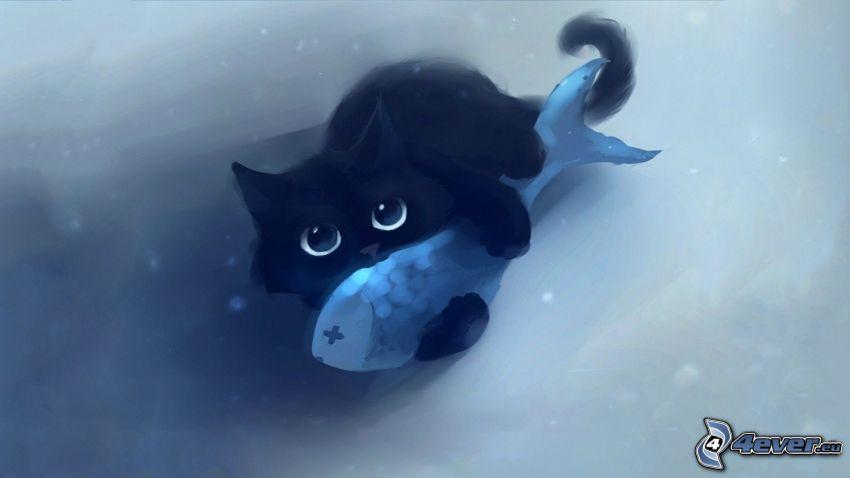 schwarzes Kätzchen, Fisch