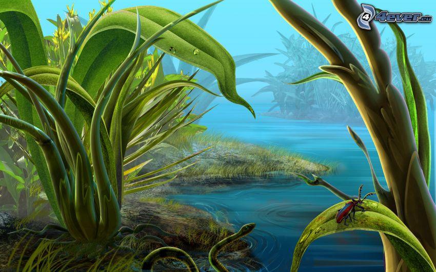 See, grüne Schlange, grüne Blätter, Käfer