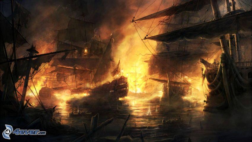 Segelboote, Feuer