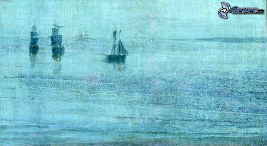 Segelboote, Malerei